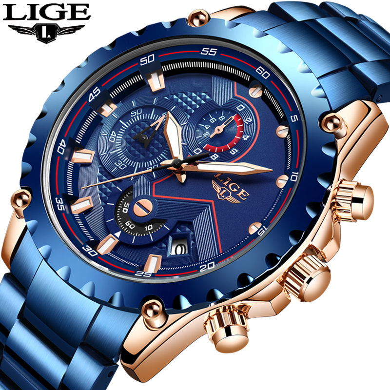2020 LIGE Watches Mens Top Brand Luxury Fashion Quartz Wrist Watch Military Sport Chronograph Waterproof Men Watch Reloj Hombres