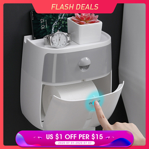 Waterproof Wall Mount Toilet Paper Holder Shelf Toilet Paper Tray Roll Paper Tube Storage Box Creative Tray Tissue Box Home(China)