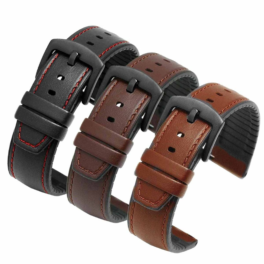Vintage Leather Bracelet Men Watch Bands Strap For Huawei Watch 2 Pro/GT Active/Elegant/Honor Magic/Samsung Galaxy Watch Band
