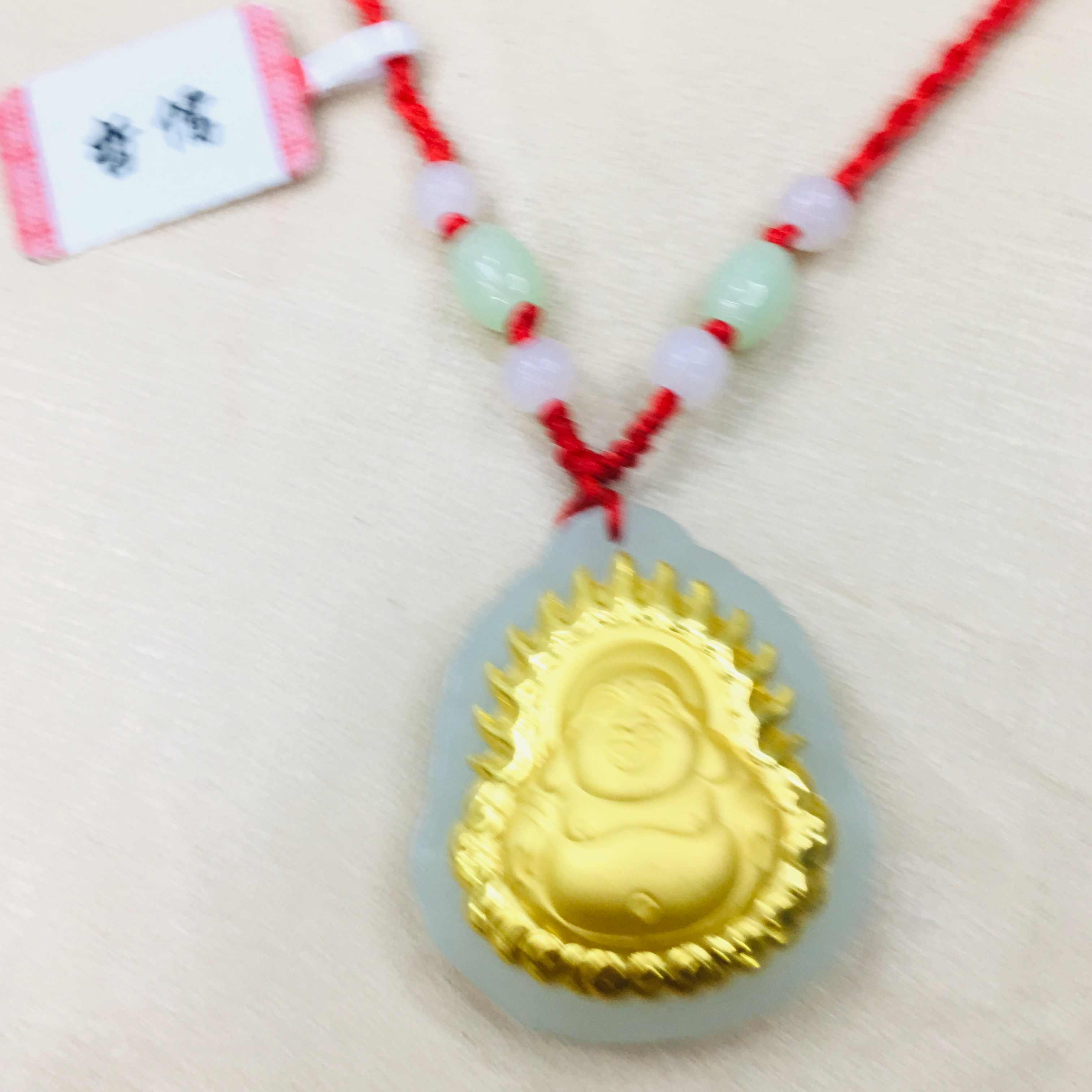 Zheru เครื่องประดับธรรมชาติสีดำ Hetian หยกหยก 24k gold หัวเราะพระพุทธรูป Guanyin จี้สร้อยคอหยกหยกทองส่ง cert