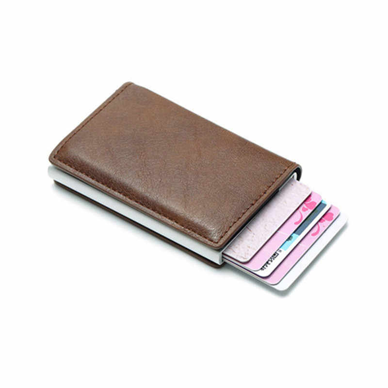 BYCOBECY Antitheft Vintage Credit Card Holder Blocking Rfid Pop Up Wallet PU Leather Unisex Security Information Aluminum Purse