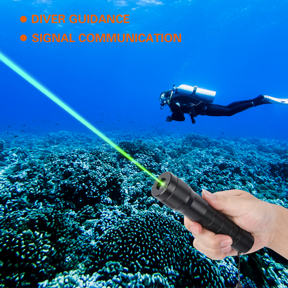 Blue Green Laser High Power Diving Laser Flashlight Pointer 520nm SOS Flashlight  Outdoor Flashlight Laser Pointer Personal Prop