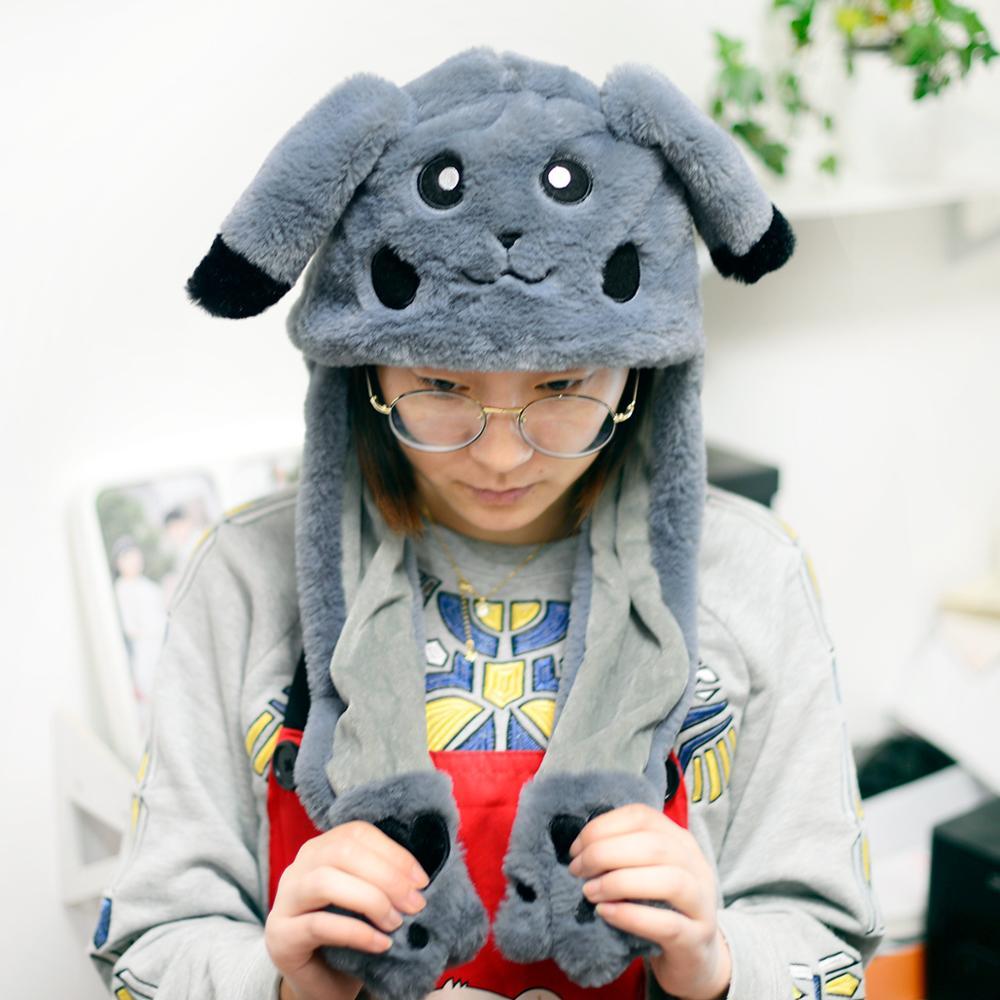Новинка, Мультяшные шапки с подвижными ушками, милый Игрушечный Кролик, шапка с подушкой безопасности, Kawaii, забавная шапка для девочек, детская плюшевая игрушка, рождественский подарок - Цвет: F