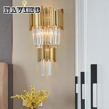 Современный хрустальный светодиодный настенный светильник, Золотой металлический светодиодный настенный светильник для спальни, светильники для столовой, светодиодный настенный светильник для гостиной, бра