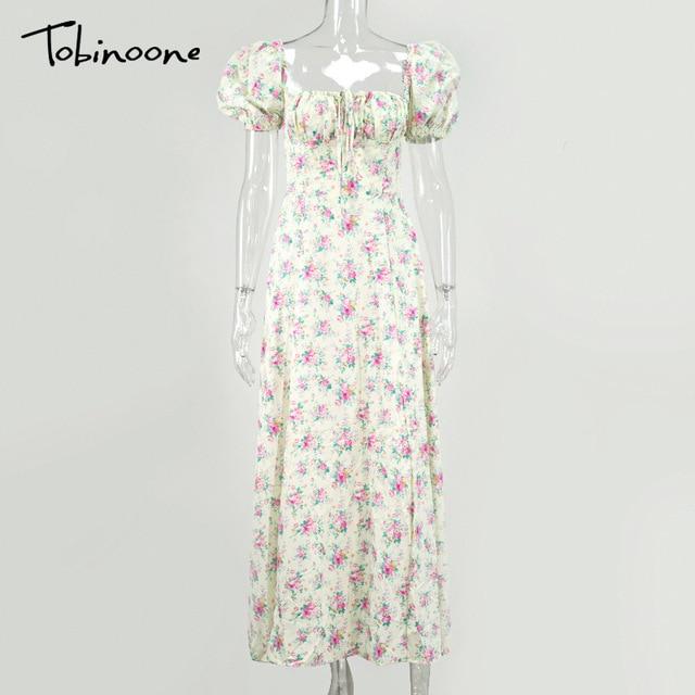 Tobinoone Print Summer Dress Women Floral Short Puff Sleeves Square Collar High Slit Sundress Party Drawstring Holiday Dresses 5