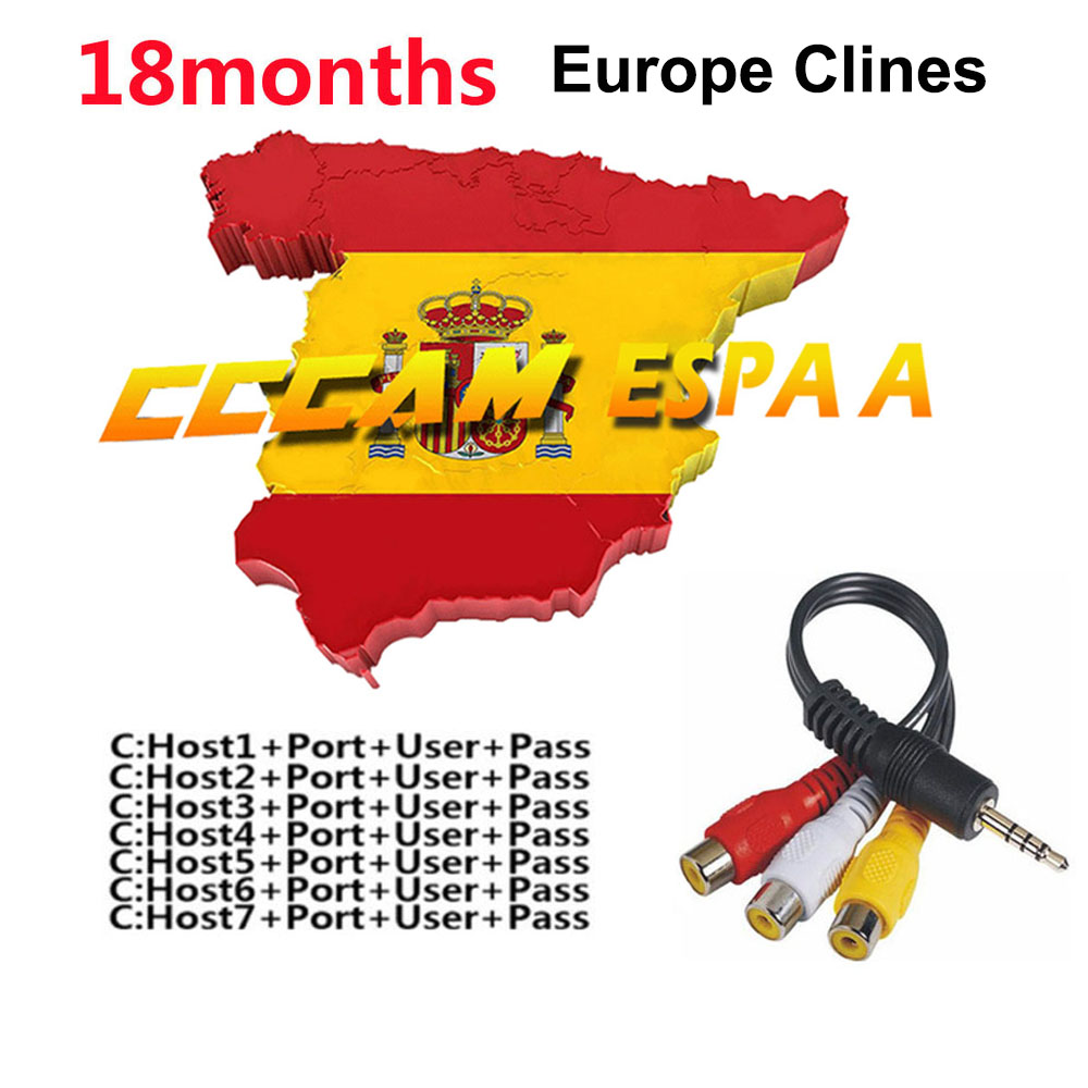 18 Months Stable Cccam Clines For Europe Spain Portugal Germany Poland Satellite Tv Receiver FULL HD DVB-S2 Support 7 Lines Ccam