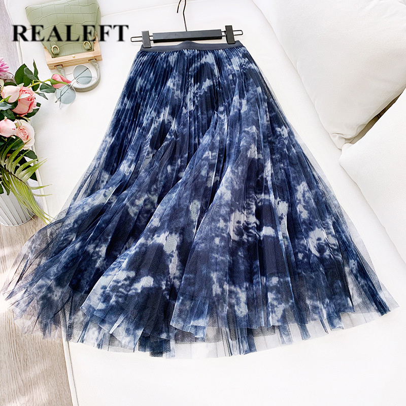 REALEFT Spring Summer Women Mesh Patchwork Vintage Pleated Long Skirts High Waist Harajuku Tulle A-Line Mid-Calf Skirts Ladies