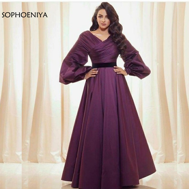 New Arrival V Neck Purple Long sleeve   evening     dress   2020 Robe de soiree   Evening   gowns for women abiye elbise party   dress