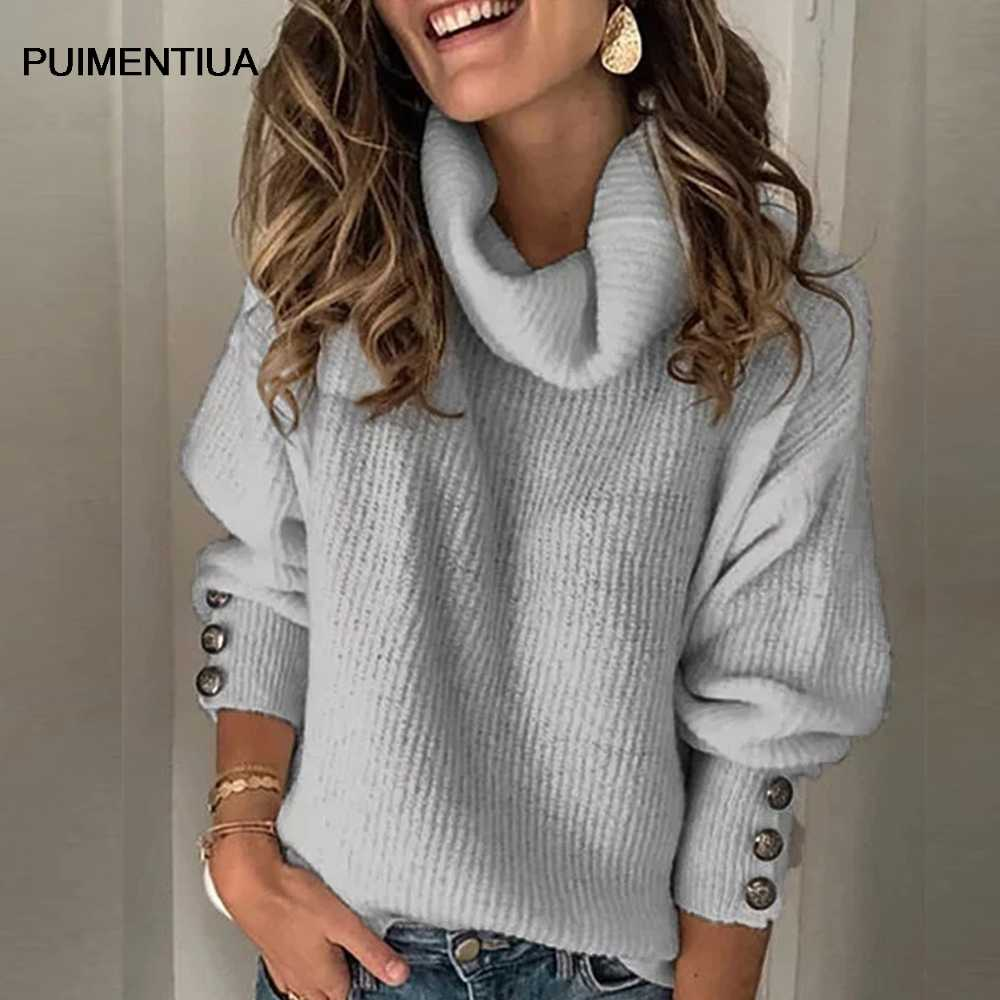 puimentiua Women's Sweater 2020 fashion Turtleneck Long Sleeve Sweater  Oversize turtleneck sweater Chunky Pullover Sweater|Pullovers| - AliExpress