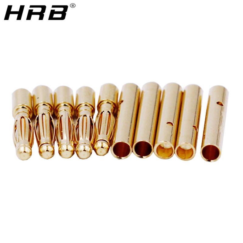 10PCS Amass Banana Plug 2.0mm 3.0mm <font><b>3.5mm</b></font> 4.0mm <font><b>Bullet</b></font> Female Male Connector 5.0mm 5.5mm 6mm 6.5mm Brass Plated Copper RC Parts image