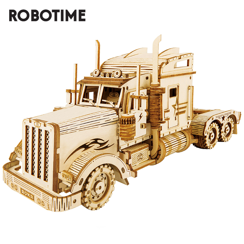 Robotime ROKR DIY 3D wooden puzzle game handmade heavy track model toys for children gifts MC502(China)
