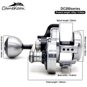 Image 5 - CAMEKOON carrete de pesca de agua salada, DC200 CNC, carrete lento para jigging, 32kg, potencia de Arrastre, mango izquierdo/derecho, curricán de agua salada convencional
