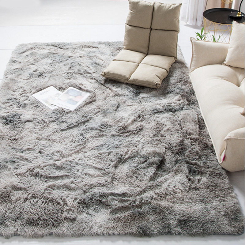 2019 Modern Nordic Tie-dye Gradient Carpet Bedroom Living Room Rectangular Carpet Variegated Soft Comfortable Area Carpet Gray