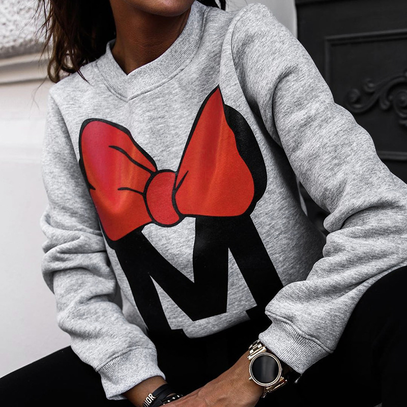 Shestyle Autumn Winter Oversize Cartoon Sweatshirts Women 2019 Bow Print Casual Loose Minimalism O Neck Black Gray Hoodies Lady