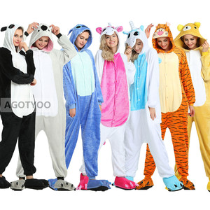 Unicorn Onesies Winter Anime Stitch Koala Onesies Women Men Nightwear Kigurumi Unicornio Pijima Adults Flannel Sleepwear Pajamas(China)