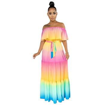 Adogirl Sexy Women Summer Long Dress Off Shoulder Rainbow Stripes Print Dress Butterfly Sleeve Flare Maxi Beach Dress Vestido blue floral print off shoulder maxi dress