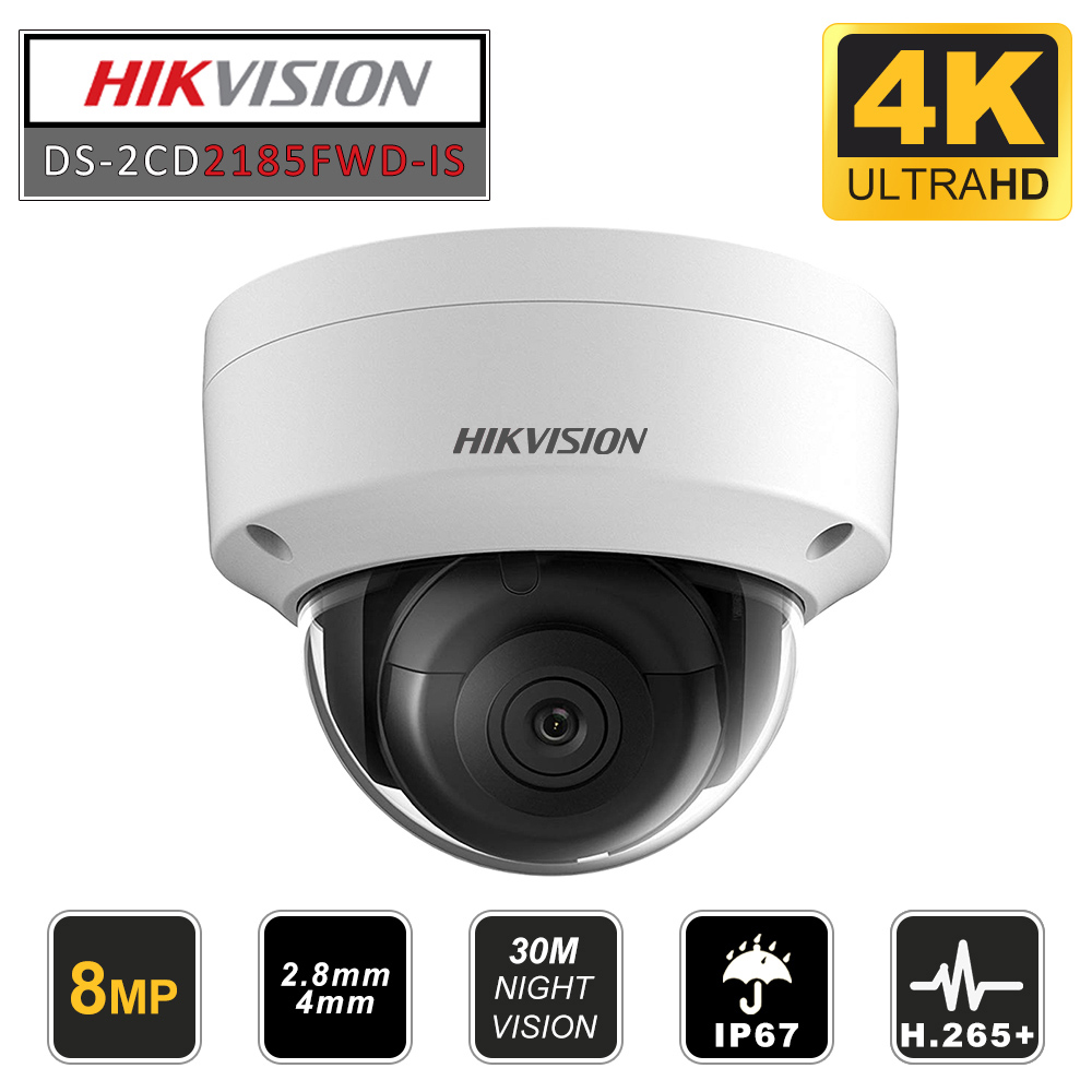 Hikvision DS-2CD2185FWD-I 8MP 4K IP Dome Camera 2.8mm H.265 POE IR IP67 IK10 TF