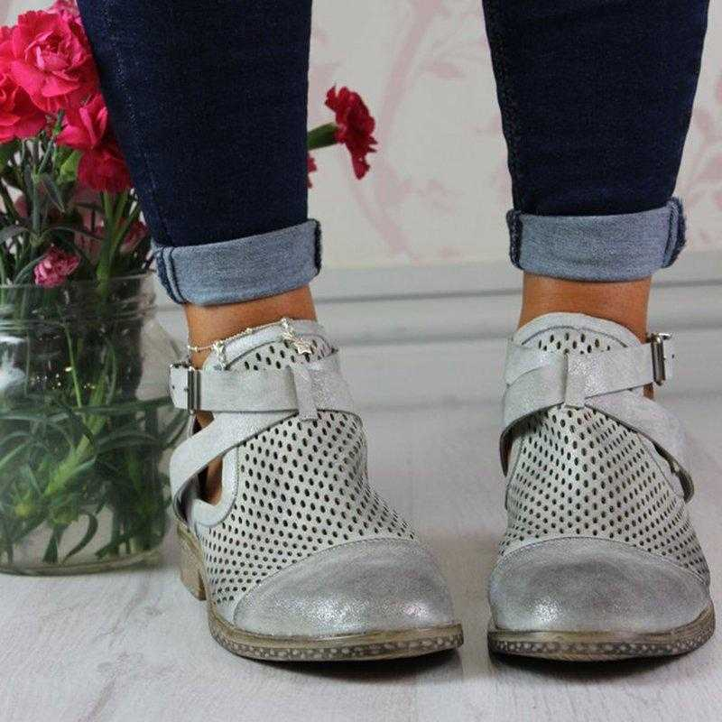HEFLASHOR 2019 New Fashion Autumn Womens Boots Mid Heels Shoes Female PU Leather Ankle Boots Rivet Buckle Daily Shoe Short Boots