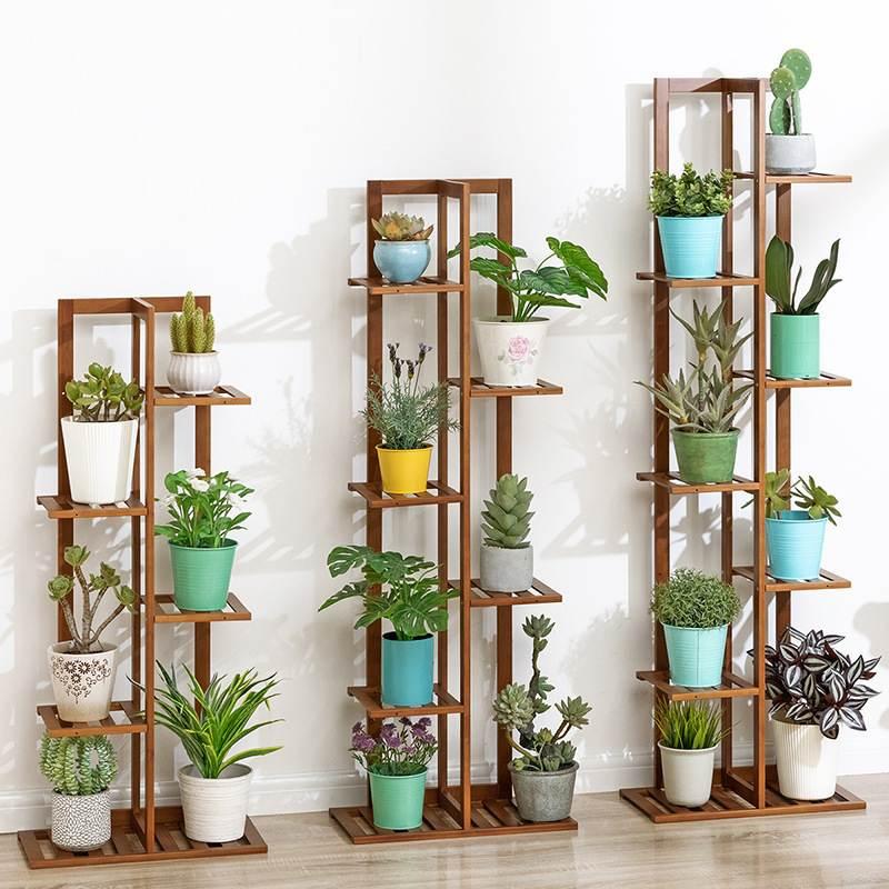 5/6/7 Tier Bamboo Flower Shelf Multi-layer Indoor Home Balcony Decoration Rack Living Room Simple Flower Pot Multilayer Rack