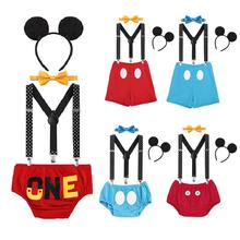 Get more info on the Baby Birthday Clothes Set Cute Mickey Mouse Cake Smash Outfit Letter Print Suspenders Shorts Baby Boy and Girl Photography Props