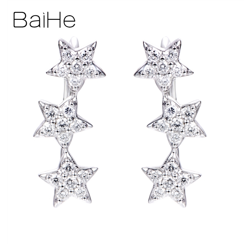 BAIHE Solid 14K White Gold 0.30ct H/SI Natural Diamonds Wedding Engagement Party Trendy Fine Jewelry Gift Star Diamonds Earrings