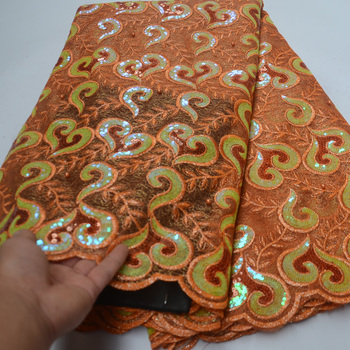 8 colors  high quality orange color African sequins tulle lace fabric with beads fancy embroidered French net lace fabric FLP167