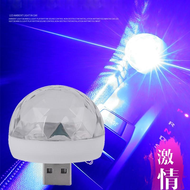 LED Car USB Atmosphere Light DJ Home RGB 12V 3W 5V Mini Colorful Music Sound USB Phone Lamp For Festival Party Car Auto