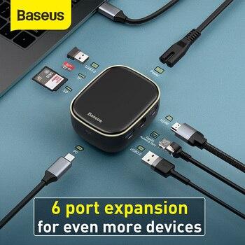 Baseus USB C HUB do wielu HDMI USB 3.0 RJ45 TF czytnik kart SD PD 60W Adapter do MacBook Pro stacja dokująca typu C HUB USB Splitter
