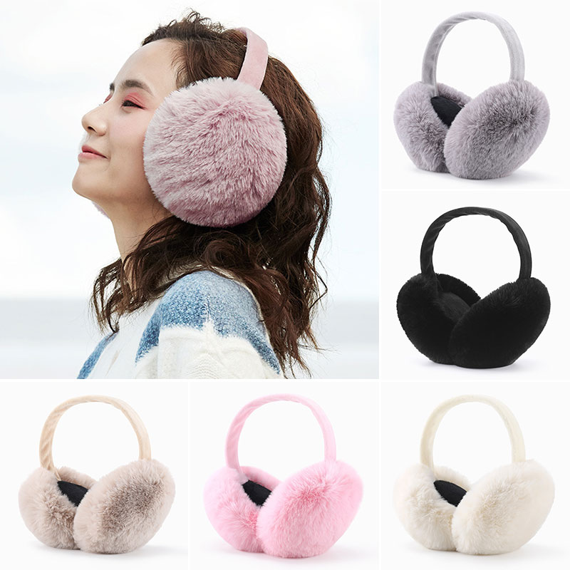 Cute Girls Earmuffs Solid Color Thick Student Ear Muffs Faux Fur Ear Warmer Black Plush Ear Cover For Winter Accessories