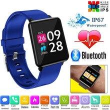 Binssee ساعة ذكية الرجال النساء الساعات الرياضية سوار لياقة بدنية معدل الاستماع رصد ضغط الدم Smartwatch Relogio IP67 + صندوق