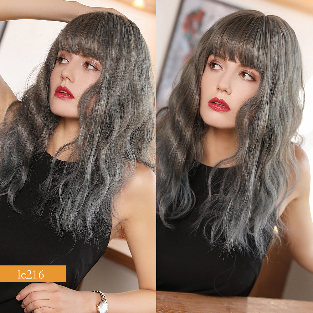 água peruca de cabelo sintético com franja