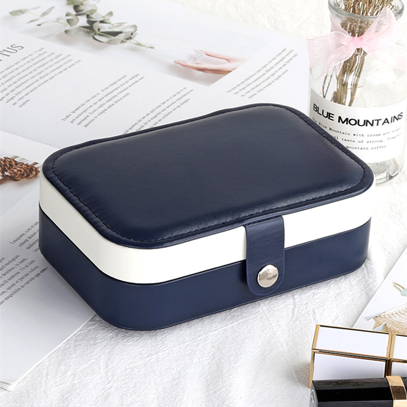 Korean Fashion Design High Grade PU Leather Earrings Storage Casket Newest  Jewelry Box Portable Detachable Jewelry Organizer