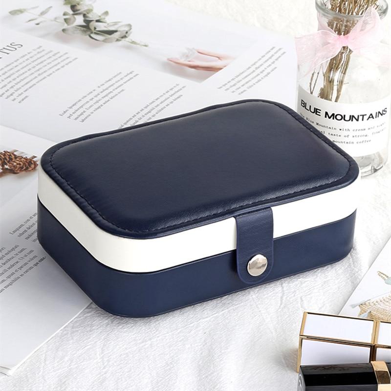 Korean Fashion Design High Grade PU Leather Earrings Storage Casket Newest  Jewelry Box Portable Detachable Jewelry Organizer