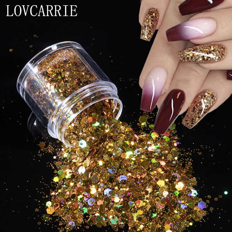 Lovcarrie 1 caixa de ouro prata prego glitter em pó lantejoulas decorações da arte do prego laser holográfico flocos de unhas acessórios para unhas