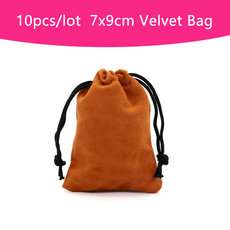 Wholesale Cheap Jewelry Packaging Bags 10pcs/lot Light Brown Velvet Bags Drawstring Gift Display Pouches 7x9cm Small Bag