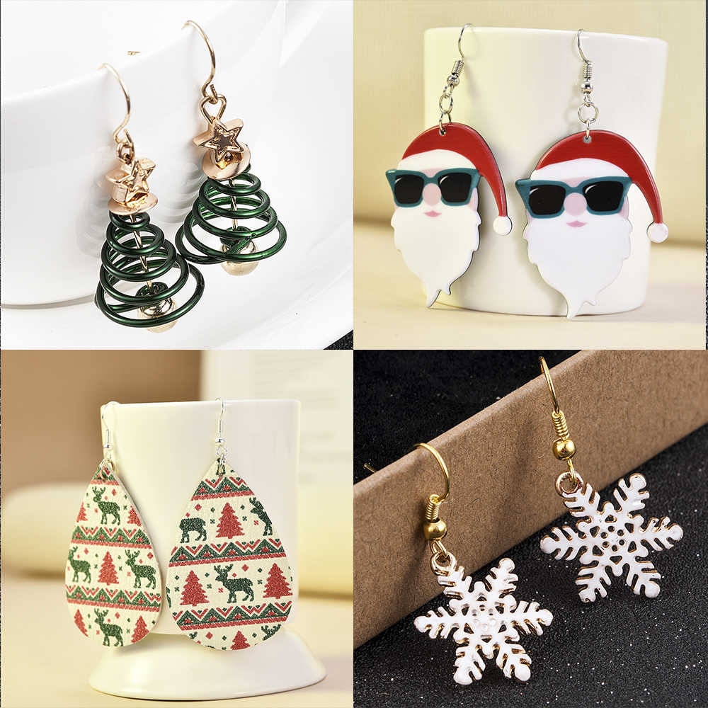 2020 Women Christmas Earring Drop Dangle Elk snowflake Christmas Gifts Boucle Earrings Women Christmas decoration Santa Claus