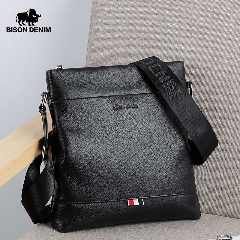 BISON DENIM Genuine Leather Men Bag Casual Business Crossbody Bag IPad Mens Messenger Bag Classic Black Bolsas Male N2821