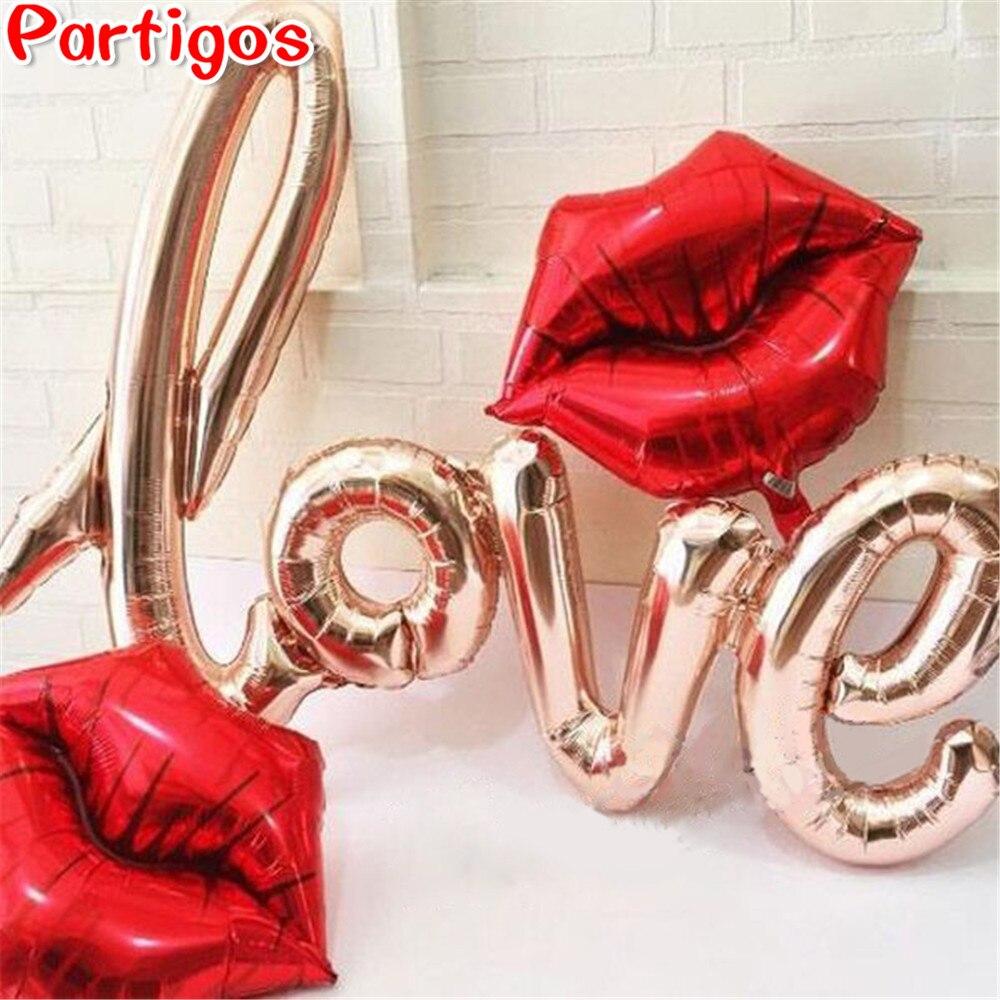 Globos de papel de aluminio con letras de amor de ligaturas, decoración para fiestas, bodas, San Valentín, amor, letras, labios, suministros para fiestas
