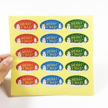 150pcs/pack Decorative For Scrapbook DIY Diary Album Tri-color Oval MERRY XMAS Sealing Stickers