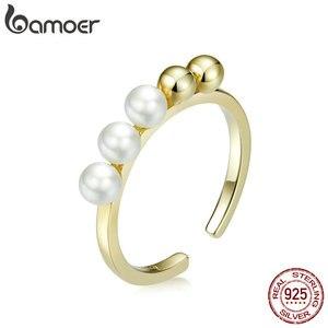 Bamoer серебро 925 пробы, Круглый бисер и жемчуг, открытые Регулируемые кольца для женщин, золотистого цвета, ювелирные изделия BSR115