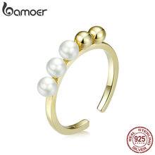 bamoer 925 Sterling Silver Round Beads and Pearl Open Adjust