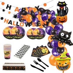 Happy Halloween Party Decorations Disposable Tableware Balloon Garland Kit Banner Plates Cups Napkin for Festival Favor Supplies