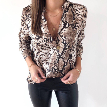 Sexy Animal Snake Skin Printed Shirts Women Kimono Tops Blouse Long Sleeve Turn Down Collar Elegant Ladies Casual Blouses nicemix 2019 jeans painting blouses female long sleeve turn down collar shirts spring autumn casual loose women blouse shirts