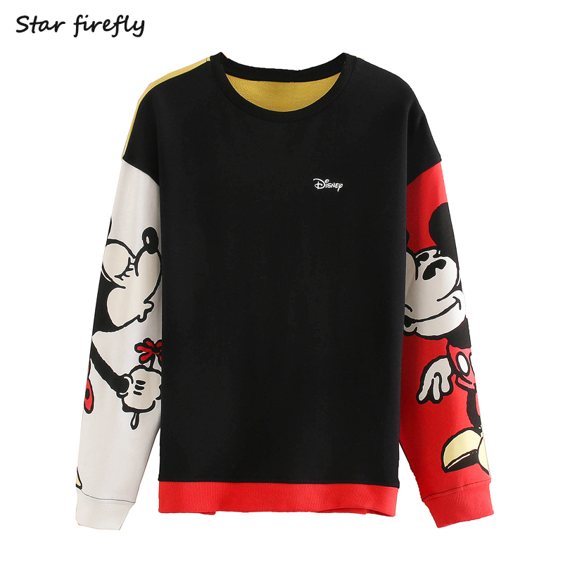 Star Firefly Fashion Za Sweatshirt Women 2020spring New Casual Loose Round Neck Mickey And Minnie Cartoon Mouse Print Sweatshirt
