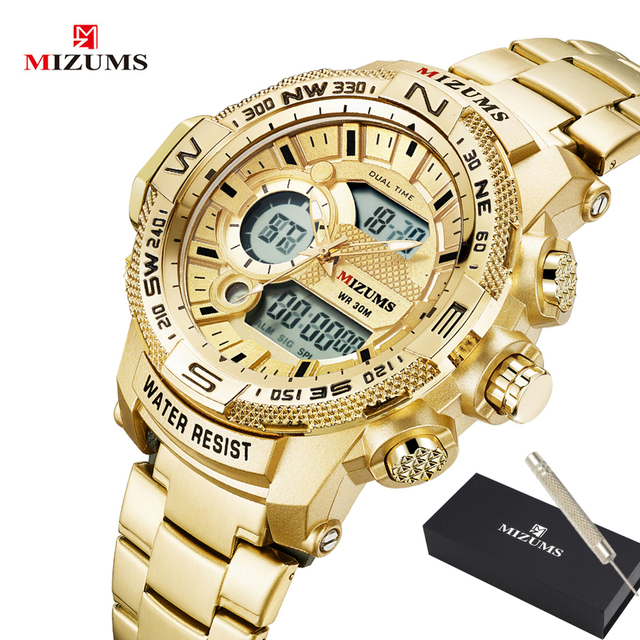 Quartz Digital Watch Men Sports Watches Man LED Waterproof Chrono Military Relogio Masculino Fashion Gold Steel Mens Wristwatch