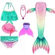 Meninas sereia cauda para a natação cosplay maiô criança faísca sereia caudas nadar traje conjuntos de banho com monofin
