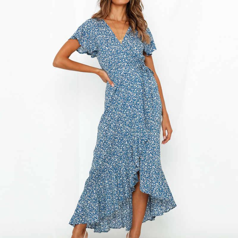 Aachoae kadınlar uzun Maxi elbise Boho tarzı çiçek baskı plaj elbise kısa kollu seksi yan bölünmüş yaz elbisesi Sundress Vestidos