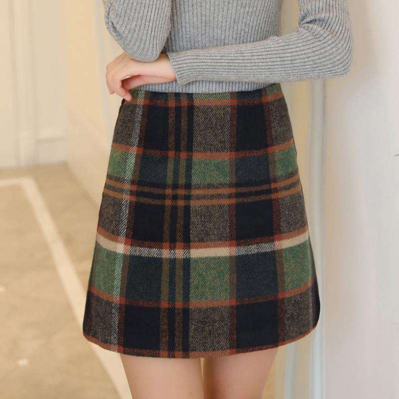 Fashion Autumn Plaid Wool Skirt Women 2019 Winter Plus Size Hight Waist A-Line Mini Skirts Female Hip Package Faldas Mujer Saia