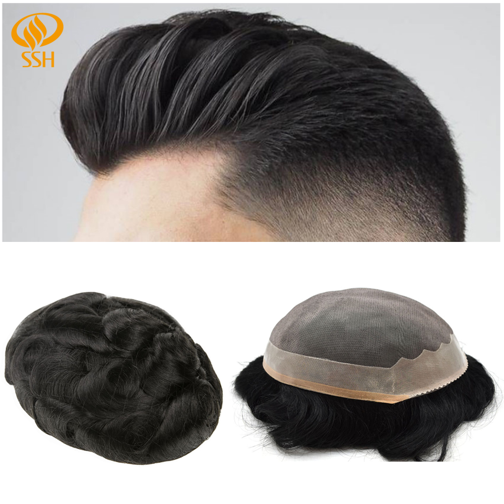 SSH Remy Hair Fine Mono Men's Toupee Poly Coating Human Hair Wigs Men Hairpieces Black Durable