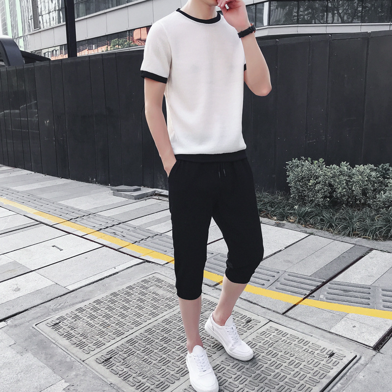 Summer Short-sleeved Set Men's Thin Breathable Short Sleeve T-shirt Capri Pants Two Pieces Cotton Linen Sports Leisure Suit